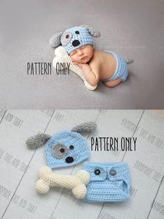 CROCHET PATTERN - Newborn Puppy hat and diaper cover and bone set 4e8fde8c1669