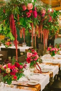 hanging amaranthus floral display - photo by Olive Photography http://ruffledblog.com/winter-garden-wedding-in-toronto #weddingideas #flowers