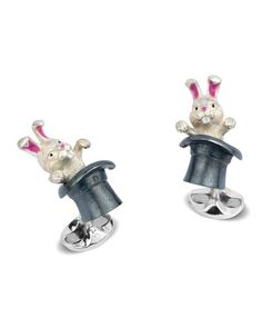 Rabbit+in+Hat+Sterling+Silver+Cuff+Links+by+Deakin+&+Francis+at+Neiman+Marcus.
