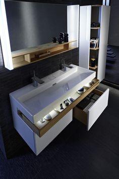 mobile doppio lavabo Jacob Delafon Plus - sophia. Bad Inspiration, Bathroom Inspiration, Modern Master Bathroom, Small Bathroom, Ikea Bathroom, Bathroom Renos, Bathroom Furniture, Craftsman Bathroom, Upstairs Bathrooms