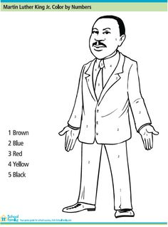 martin luther king jr color by number printables for kids free word search puzzles - Martin Luther King Jr Coloring Pages