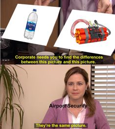 & Airport of Security vs. Water memes make fun of TSA's fear of water - Humour Really Funny Memes, Stupid Funny Memes, Funny Relatable Memes, Haha Funny, Dank Memes Funny, Memes Humor, Funny Images, Funny Pictures, Hilarious Memes