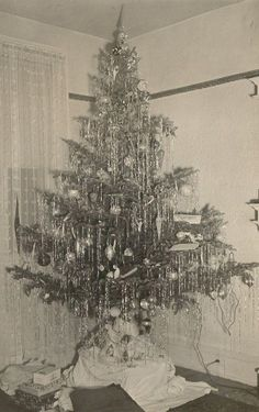 Remembering the tinsel. Loved it as a child hated it as an adult but feelings are somewhat changing. Takes me back. Old Fashion Christmas Tree, Tinsel Christmas Tree, Old Time Christmas, Vintage Christmas Photos, Antique Christmas, Christmas Past, Primitive Christmas, Retro Christmas, Christmas Pictures