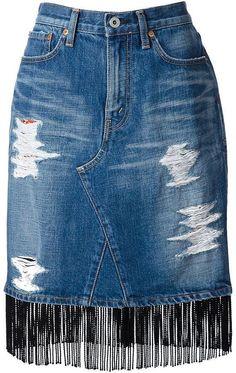 Junya Watanabe Fringed Denim Skirt in Blue Jeans Refashion, White Denim Skirt, Denim Skirts, Mode Jeans, Jeans Rock, Denim Jeans, Denim Outfit, Ladies Dress Design, Boho Outfits