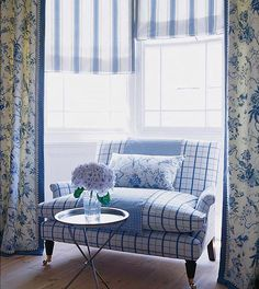 love the blue plaid. for kitchen nook