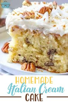 The Best Homemade Italian Cream Cake with Butter Cream Cheese Frosting recipe is a moist cake with sweetened coconut and chopped pecans! Delicious! #italiancreamcake #dessert