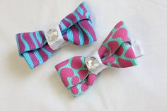 Zebra and Cheetah Print Hair Clip Bow Set of Two by BabyGeneration, $3.50