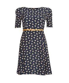 Navy (Blue) Mela Navy Bird Print 1/2 Sleeve Dress   272917541   New Look