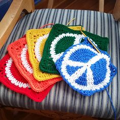 Peace Sign Granny Square crochet More