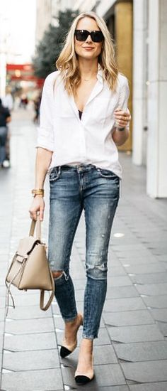 White Shirt / Destroyed Bleached Denim / Chanel Flats / Beige Leather Tote Bag