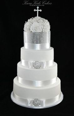silver and white christening cakes - Google Search