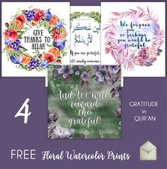 4 FREE floral watercolor prints on gratitude in Qur'an   AYEINA