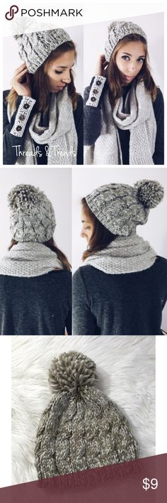 Knit Beanie Gorgeous warm & cozy  knit beanie for fall and winter time. Beanie features puff ball & a variegated pattern. Made of 100% acrylic. Available in mauve, navy, taupe & black Accessories Hats