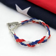 Red White Blue Braided Bracelet by Ruby Bayan