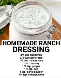Homemade Ranch Dressing, Recipe Mix, Garlic Powder, Mayonnaise, Sour Cream, Stuffed Peppers, Recipes, Food, Salads