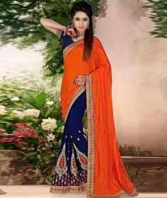 Buy Orange Art Silk Half and Half Saree With Blouse 73744 with blouse online at lowest price from vast collection of sarees at…