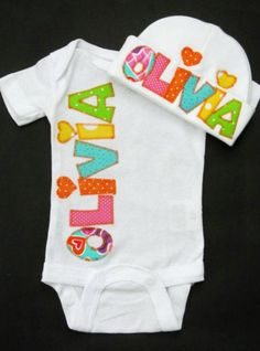 Coming home baby girl outfit, personalized onesie and beanie, layette set.. $31.00, via Etsy.