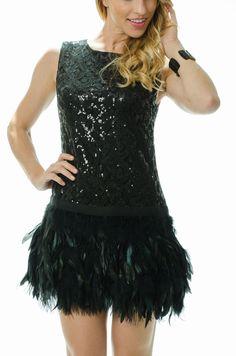 Lola Black Feathered Dress | L. Mae Boutique