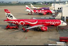 """Thai AirAsia Airbus A320-216 HS-ABJ at Bangkok-Don Mueang, January 2013. Special """"Carabao"""" livery commemorates the 30th anniversary of the Thai rock band. (Photo: KS - SJST Spotters)"""