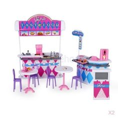 2x-Plastic-Gloria-Dollhouse-Furniture-Fast-Food-Restaurants-Play-Set-For-Barbie