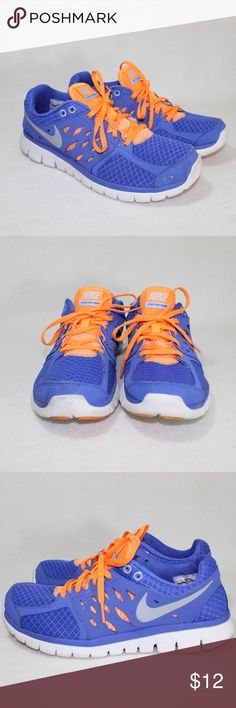 2fde9ac4e8737 Nike Flex Blue and Orange Trainer Sneakers Lovingly worn