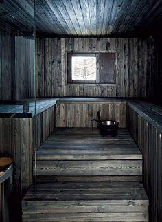Tumma sauna on isännän mielestä paras osa kylpyhuonetta… Sauna Design, Home Gym Design, House Design, Design Design, Interior Design, Sauna House, Sauna Room, Rustic Saunas, Outdoor Sauna