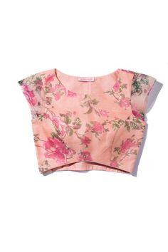 The Peach Project-Floral Organza Blouse Sari Blouse Designs, Fancy Blouse Designs, Choli Designs, Saree Floral, Floral Blouse, Bridesmaid Saree, Indian Blouse, Indian Wear, Stylish Blouse Design