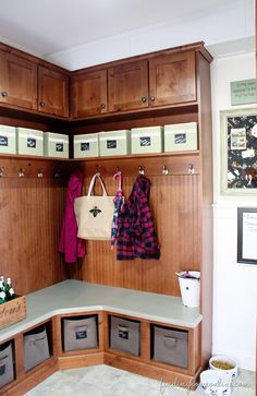 Mudroombuiltincubbies thumb Our Mudroom and Laundry Room