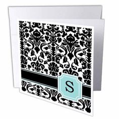 3dRose Letter S personal monogrammed mint blue black and white damask pattern - classy personalized initial, Greeting Cards, 6 x 6 inches, set of 12