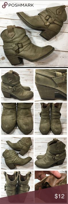 """Rocket Dog Satire Ankle Boots Rocket Dog """"Satire"""" western-style ankle boots. Manufacturer says they're brown--in certain lighting they appear to have a light olive greenish tint. Synthetic material -- vegan friendly! :)  Size label has worn off--these are an 8. I'm a 7.5 and I can wear them comfortably with a pair of thicker cotton socks as well.  Heel measures 2.5"""" Boot shaft is 5""""  inner lining unstitched about 1"""" long, insole on one shoe is lifting a bit at the toe, & there are some…"""