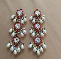 Kundan Earrings Gold Plated Fashion Earring Long Dangler Earring Pink and Pearl Drop Earrings South Indian Jewelry Kundan Jewelry Chandbali Indian Wedding Jewelry, Indian Jewelry, Bridal Jewelry, South Indian Jewellery, Gold Jewelry, Pearl Jewelry, Mughal Jewelry, Moroccan Jewelry, Pakistani Jewelry