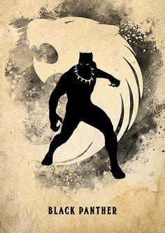 Vintage Avengers Minimalist Poster Set Spiderman Black