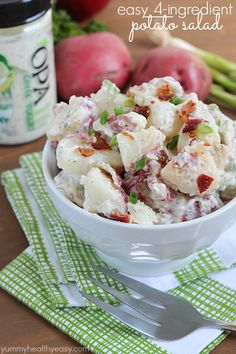 Super easy potato salad recipe using only FOUR simple ingredients! Perfect to serve with your next BBQ. Plus it's gluten-free!