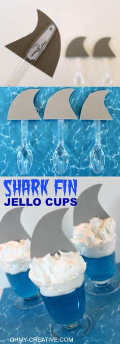 Shark Fin Jell-O Cups for shark or summer theme party theme. These are super cute and so easy to make for the kids!   OHMY-CREATIVE.COM