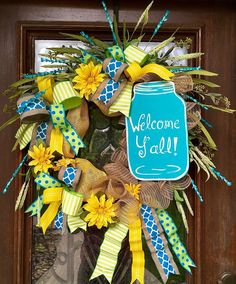 Welcome Y'all turquoise mason jar wreath perfect for spring or summer.    www.facebook.com/southernsass                                                                                                                                                      More