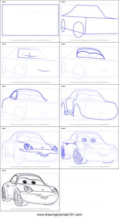 How to Draw Sally from Cars 3 step by step printable drawing sheet to print. Learn How to Draw Sally from Cars 3 Car Drawing Easy, Cartoon Car Drawing, Cartoon Sketches, Disney Sketches, Car Drawings, Doodle Drawings, Disney Drawings, Drawing Sketches, Disney Drawing Tutorial
