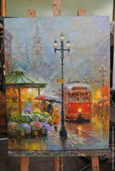 """Купить """"Трамвайчик"""". - разноцветный, трамвай, дождь, городской пейзаж, картина, картина маслом, холст"""