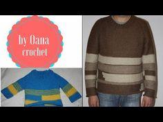 CROCHET How To #Crochet Simple Mens Pullover Sweater Size L, XL, 2XL TUTORIAL #359 LEARN CROCHET - YouTube