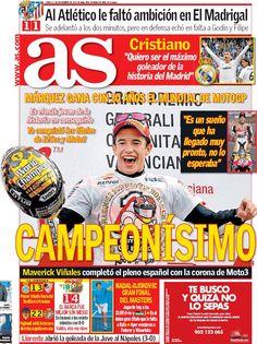 Los Titulares y Portadas de Noticias Destacadas Españolas del 11 de Noviembre de 2013 del Diario AS ¿Que le pareció esta Portada de este Diario Español?