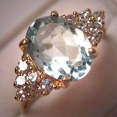 Vintage Aquamarine and Diamond Ring - Click image to find more Women's Fashion Pinterest pins