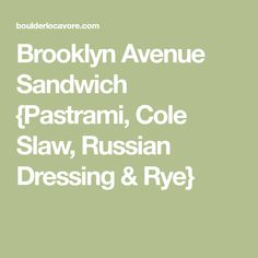 Inspired by Mad Men, the Brooklyn Avenue Sandwich: pastrami, cole slaw and Russian dressing on rye. Gluten-Free mock rye used here (recipe included). Pastrami Sandwich, Sandwiches, Antipasto, Russian Dressing, Coleslaw, Rye, Brooklyn, Appetizers, Recipes