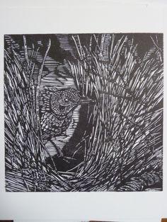 Laura castell, Bowerbird woodcut