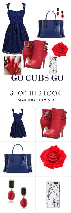 """""""Congrats to the cubs go cubbies 🐻"""" by ntone3 ❤ liked on Polyvore featuring Michael Antonio, Longchamp, Johnny Loves Rosie and 1st & Gorgeous by Carolee"""