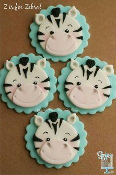 Zebra Cookies, Zebra Cupcakes, Cupcakes For Boys, Animal Cupcakes, Wedding Cakes With Cupcakes, Cupcakes Design, Cake Designs, Fondant Cupcake Toppers, Cupcake Cakes