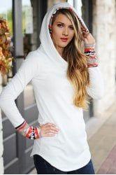 Chic Hooded Long Sleeve Printed Women's Hoodie - WHITE