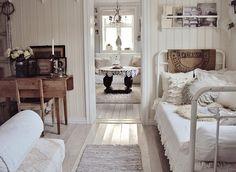 bedroom & dining room, white, rustic, swedish, farmhouse, shabby chic