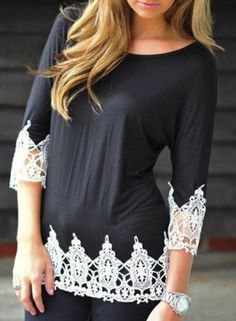 Black Patchwork Lace Round Neck 3/4 Sleeve Casual Fashion T-Shirt