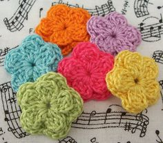 Crochet Flower Appliques  Small Layered by FineThreads on Etsy, $2.70