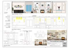 Projeto de Paginação  Boiserie Iluminação Interior 3D Ilustração Detalhes Técnicos