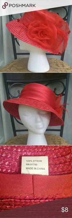 Sassy red straw church hat Bright red, with tulle flourish on the side, and satin covered top.  tiny snag in the very top.  see pics. Accessories Hats